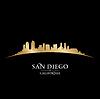 San Diego Kalifornien Skyline Silhouette schwarz