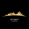 Detroit Michigan city skyline silhouette black