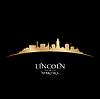 Lincoln Nebraska Stadt Silhouette schwarzem Hintergrund