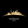 Shanghai China Skyline Silhouette schwarz
