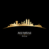 Mumbai Indien Skyline Silhouette schwarz