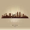 Mumbai Indien Skyline Silhouette