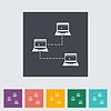 Computer-Netzwerk einzigen flachen icon