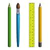 ID 3862402 | Stationary: pencils, paintbrush, ruler | Klipart wektorowy | KLIPARTO