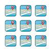 Stadtplan mit GPS Icons