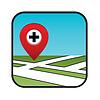 Straßenkarte Symbol mit Zeiger Apotheken, Krankenhäuser