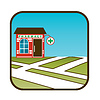 Ikone der Apotheke mit Stadtplan