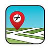 Straßenkarte Symbol mit Zeiger Flughafen