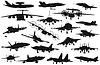 Военные самолеты установлен | Векторный клипарт