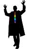 Silhouette aufgeregt Geschäftsmann mit Regenbogen
