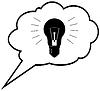 천재 아이디어 - 연설 거품 구름에 전구. | Stock Vector Graphics