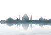 India landmark - Taj Mahal panorama with fog | 免版税照片