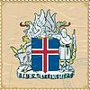 Wappen von Island auf alte Briefmarke
