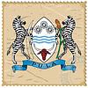Wappen von Botswana auf alte Briefmarke