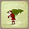 Weihnachtsmann mit Weihnachtsbaum - vintage Gruß