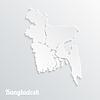 Abstract icon Karte von Bangladesch auf grauem Hintergrund