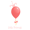 Ballon mit Goldkrone. Hintergrund kleine Prinzessin