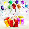 Urlaub Geschenke in Schachteln auf gestreiften farbigen backgroun
