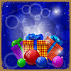 Postkarte mit Weihnachtsgeschenken und
