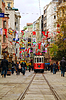 Photo 300 DPI: Old-fashioned red tram at street of Istanbul