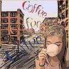 Retro-Design Kaffee-Poster mit Mädchen trinken Stadt