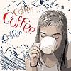 Retro-Design Kaffee-Poster mit Mädchen trinken