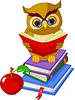 Wise Owl sitzt auf Pile Buch