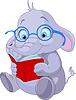ID 3724177 | Elephant Śliczne czyta książki | Klipart wektorowy | KLIPARTO