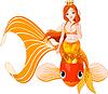 Meerjungfrau reitet auf goldenen Fisch