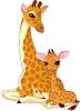 Векторный клипарт: Мать и ребенок жирафа