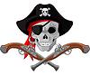 Piraten-Schädel und Gewehre