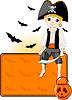 Kleine Halloween-Piraten-Tischkarte