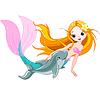 Nette Meerjungfrau und Delphin