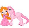 Schöne Prinzessin und Einhorn