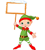 ID 4073177 | Christmas Elf with sign | Klipart wektorowy | KLIPARTO