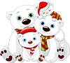 Big Eisbär Familie an Weihnachten