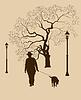 Einsamkeit, ein Spaziergang im Park Mann mit einem Hund