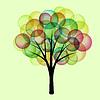 Фэнтези дерево иллюстрация с разноцветными сферами
