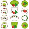Set von Etiketten für Erdbeermarmelade