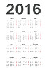 Rosyjski 2016 rok kalendarzowy | Stock Vector Graphics