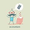 ID 3894098 | Buchhalter mit Buch über das Denken über Zahlen | Stock Vektorgrafik | CLIPARTO