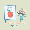 ID 3894196 | Mann zeigt Präsentation von Apple | Stock Vektorgrafik | CLIPARTO