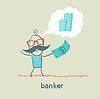 Banker mit Dollar denkt über Geld