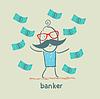 Bankier und viel Geld fallen um