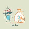 Banker mit Geldsack