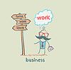 Unternehmer stehen vor der Wegweiser | Stock Illustration