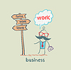 Biznesmen stoi przed drogowskaz | Stock Illustration