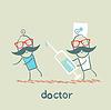 Verläuft die Arzt um Spritze für Patienten