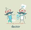 Doktor mit kranken, gebrochenen Bein
