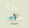 Hombre durmiendo bajo las estrellas | Ilustración